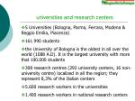 universities and research centers