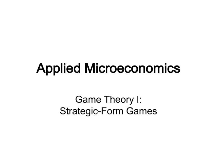applied microeconomics n.