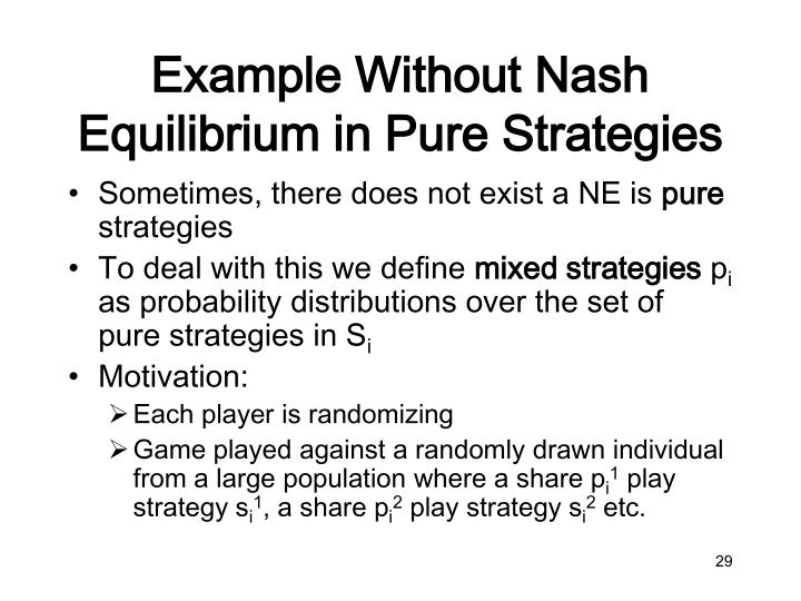 Example Without Nash Equilibrium in Pure Strategies