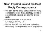 nash equilibrium and the best reply correspondence