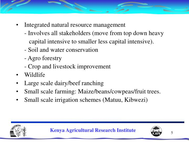 Integrated natural resource management
