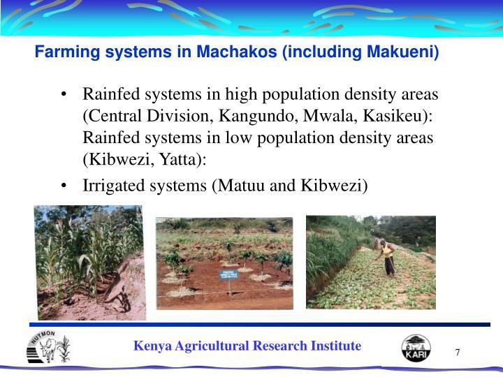 Farming systems in Machakos (including Makueni)
