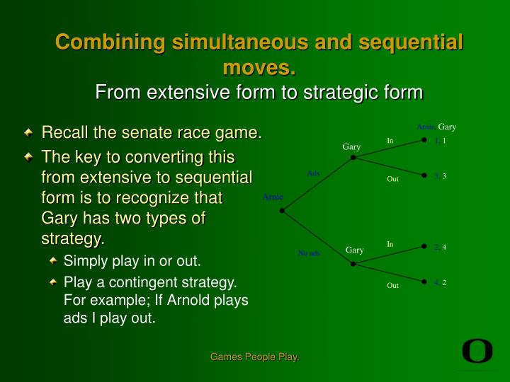 Combining simultaneous and sequential moves from extensive form to strategic form