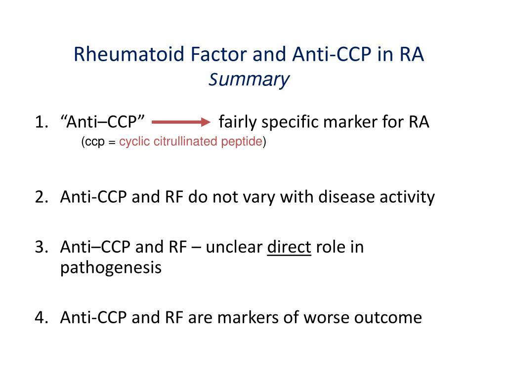 Rheumatoid Factor and Anti-CCP in RA
