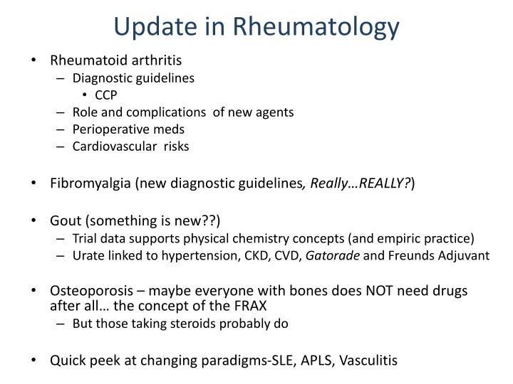 Update in rheumatology