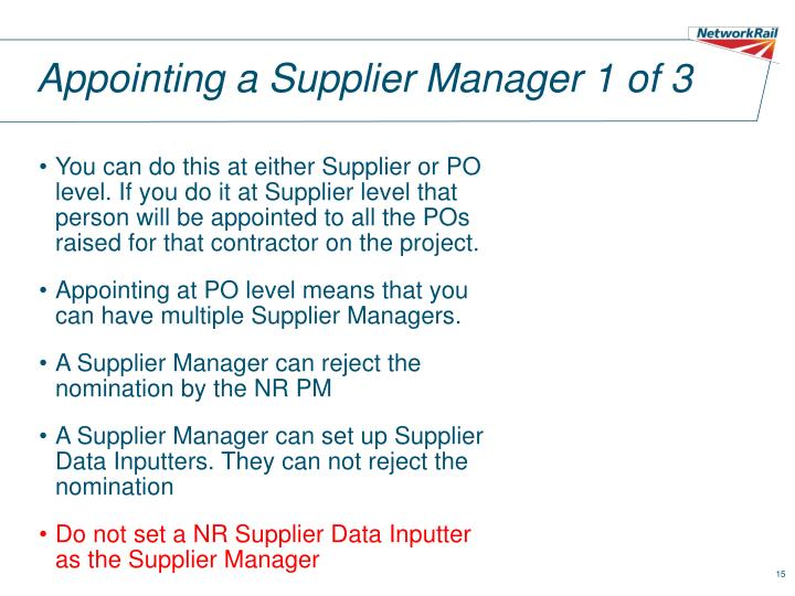 Appointing a Supplier Manager 1 of 3