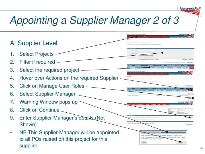 Appointing a Supplier Manager 2 of 3