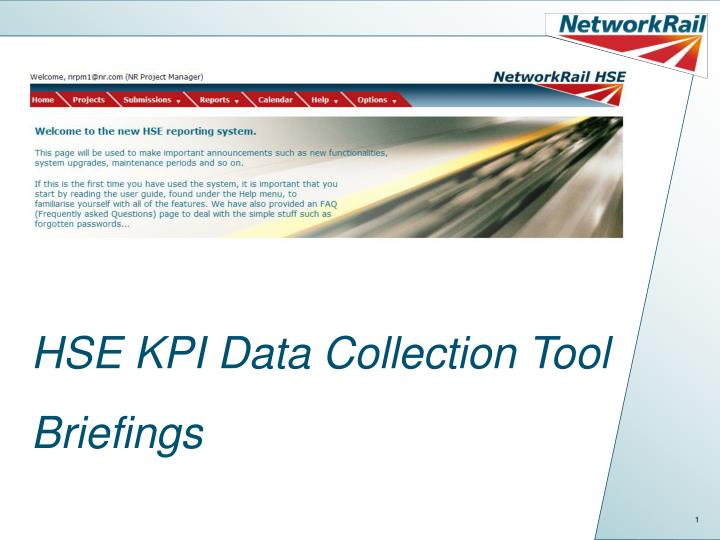 Hse kpi data collection tool briefings