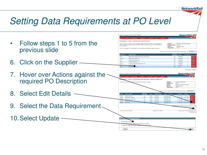 Setting Data Requirements at PO Level