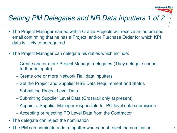 Setting PM Delegates and NR Data Inputters 1 of 2