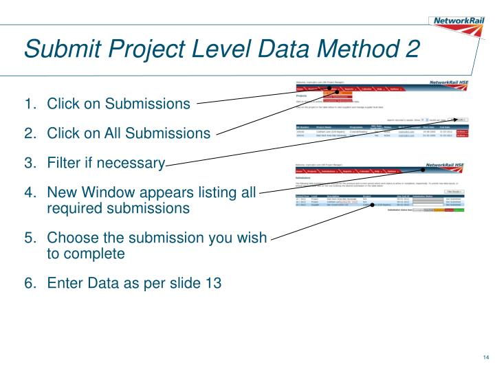 Submit Project Level Data Method 2