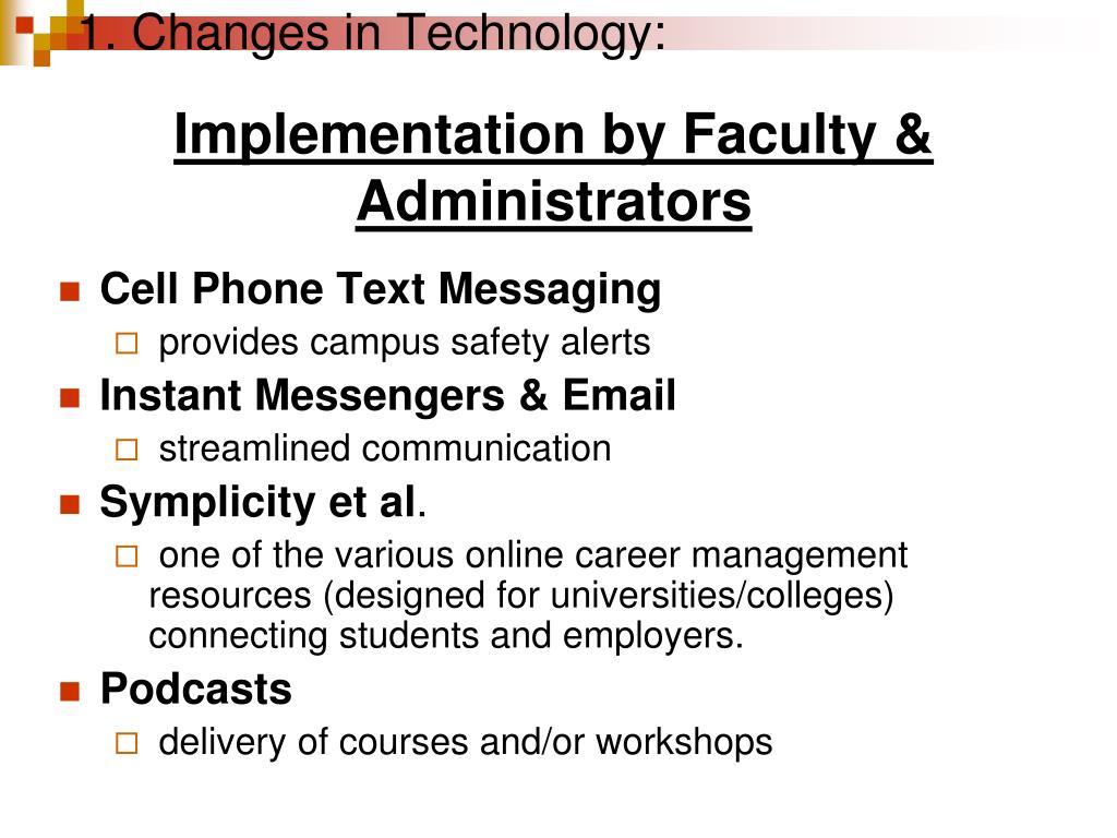 1. Changes in Technology: