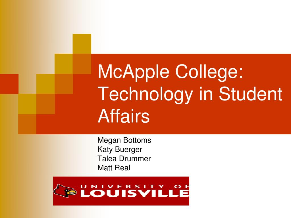 mcapple college technology in student affairs l.