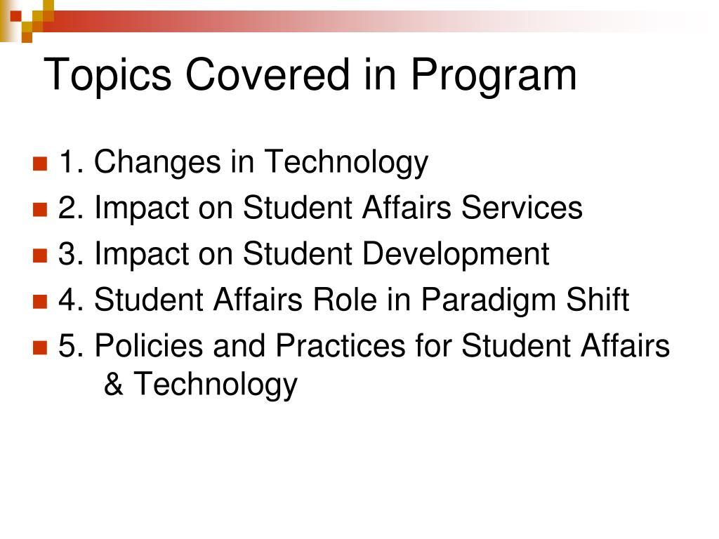 Topics Covered in Program
