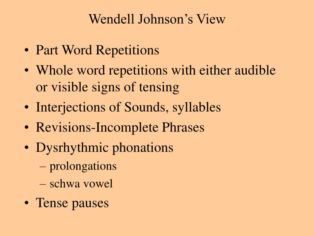 Wendell Johnson's View