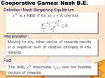 cooperative games nash b e