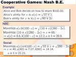cooperative games nash b e1