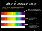 motion of objects in space