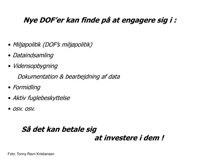 Nye DOF'er kan finde på at engagere sig i :