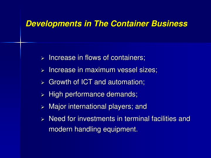 Developments in The Container Business