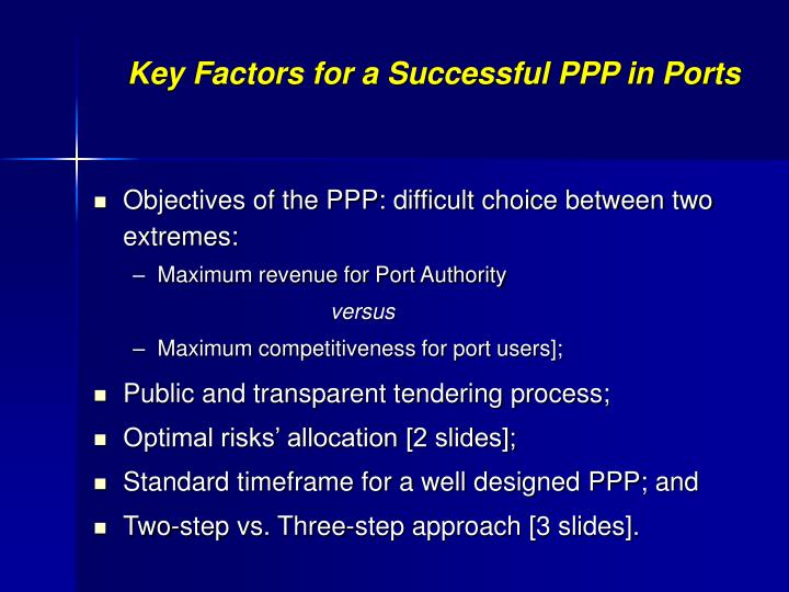 Key Factors for a Successful PPP in Ports