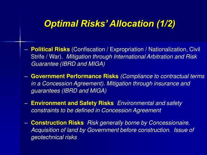 Optimal Risks' Allocation (1/2)
