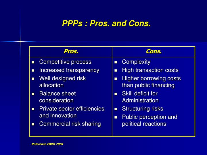 PPPs : Pros. and Cons.