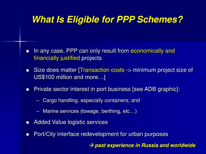 What Is Eligible for PPP Schemes?