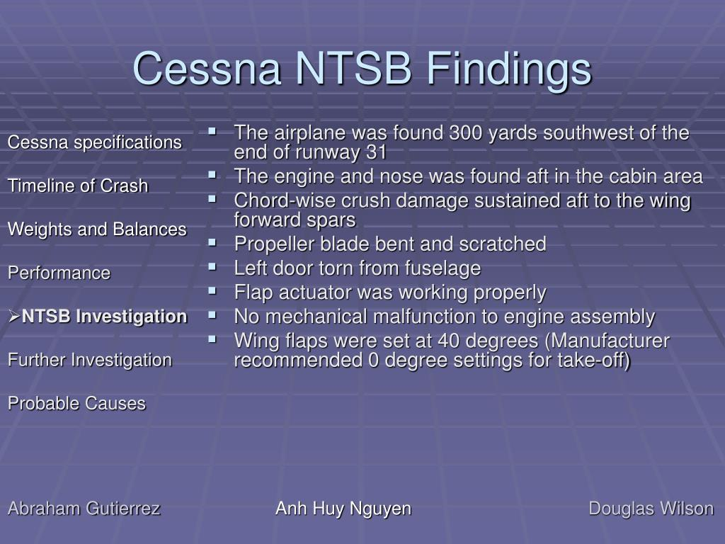 Cessna NTSB Findings