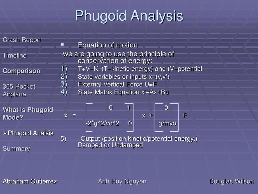 Phugoid Analysis