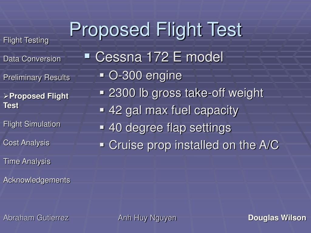 Proposed Flight Test