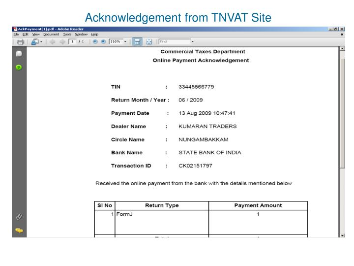 Acknowledgement from TNVAT Site