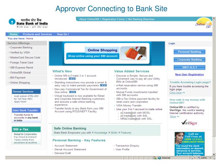 Approver Connecting to Bank Site
