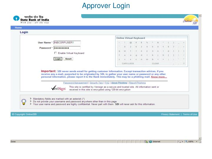 Approver Login