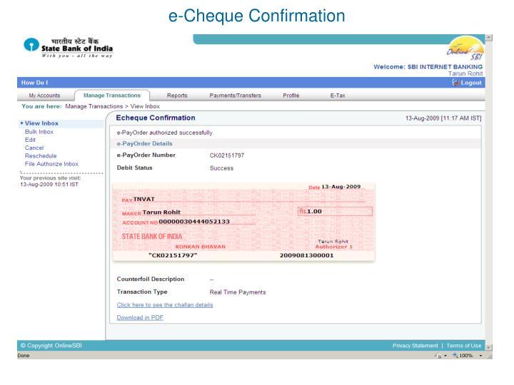 e-Cheque Confirmation