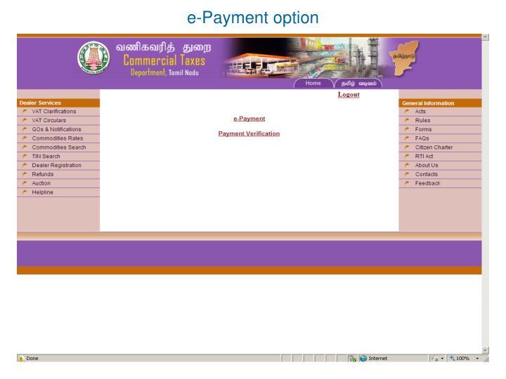 e-Payment option