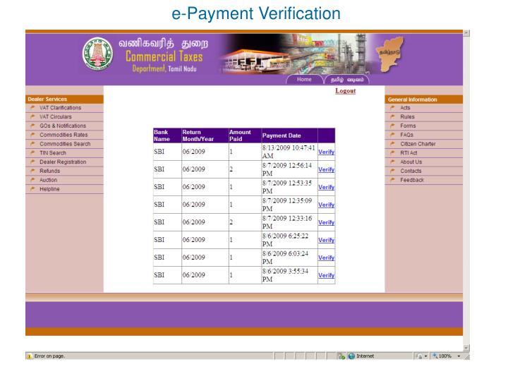 e-Payment Verification