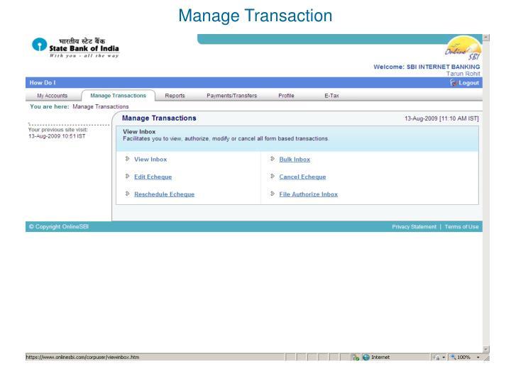 Manage Transaction