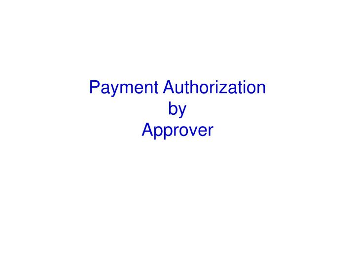 Payment Authorization