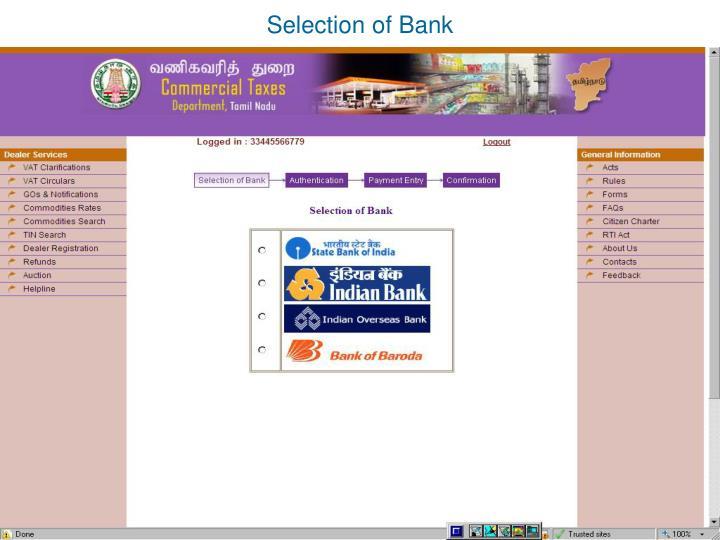 Selection of Bank