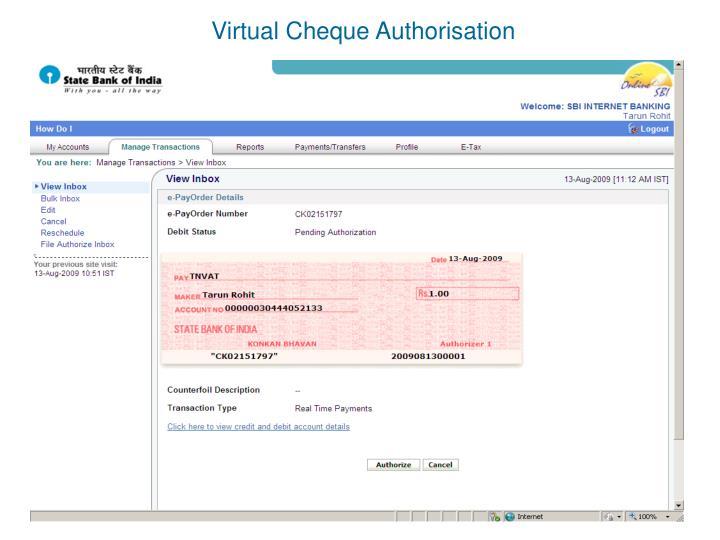 Virtual Cheque Authorisation
