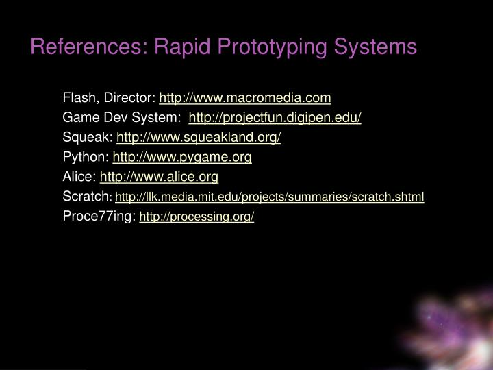 References: Rapid Prototyping Systems