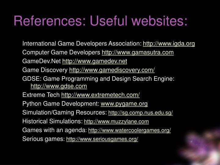 References: Useful websites: