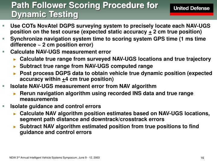 Path Follower Scoring Procedure for Dynamic Testing