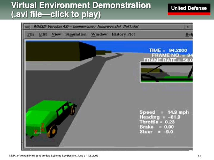 Virtual Environment Demonstration (.avi file—click to play)