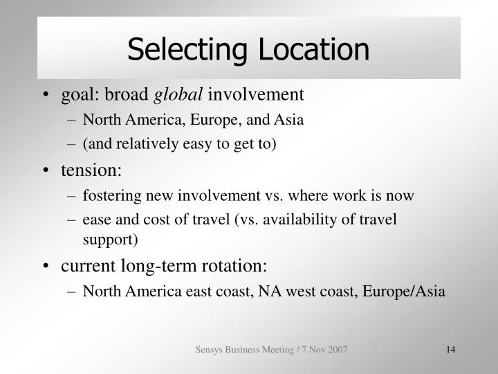 Selecting Location