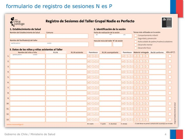formulario de registro de sesiones N es P
