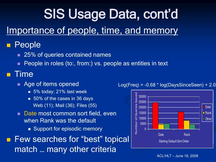 SIS Usage Data, cont'd