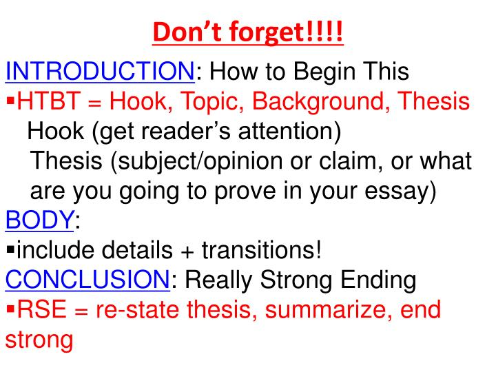 transition between hook and thesis Transitions & connectives words and phrases that connect and make logical transitions between sentences, paragraphs, and sections of a paper generally do so in at least eight different ways.