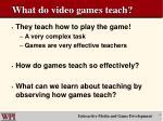 what do video games teach